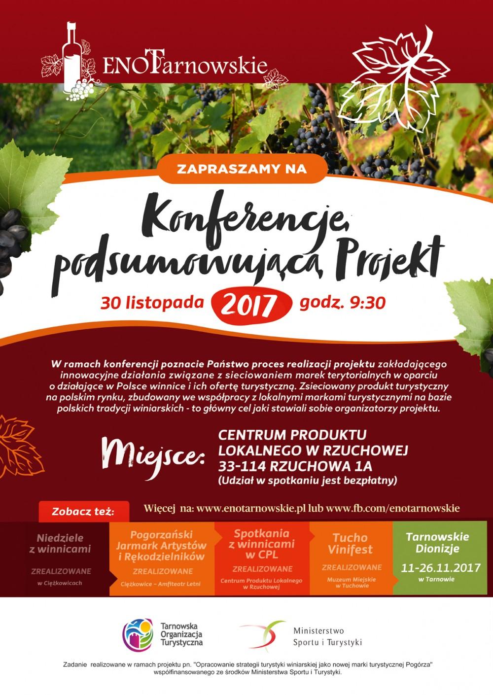 Konferencja podsumowująca projekt _Opracowanie strategii turystyki winiarskiej jako nowej marki Pogórza